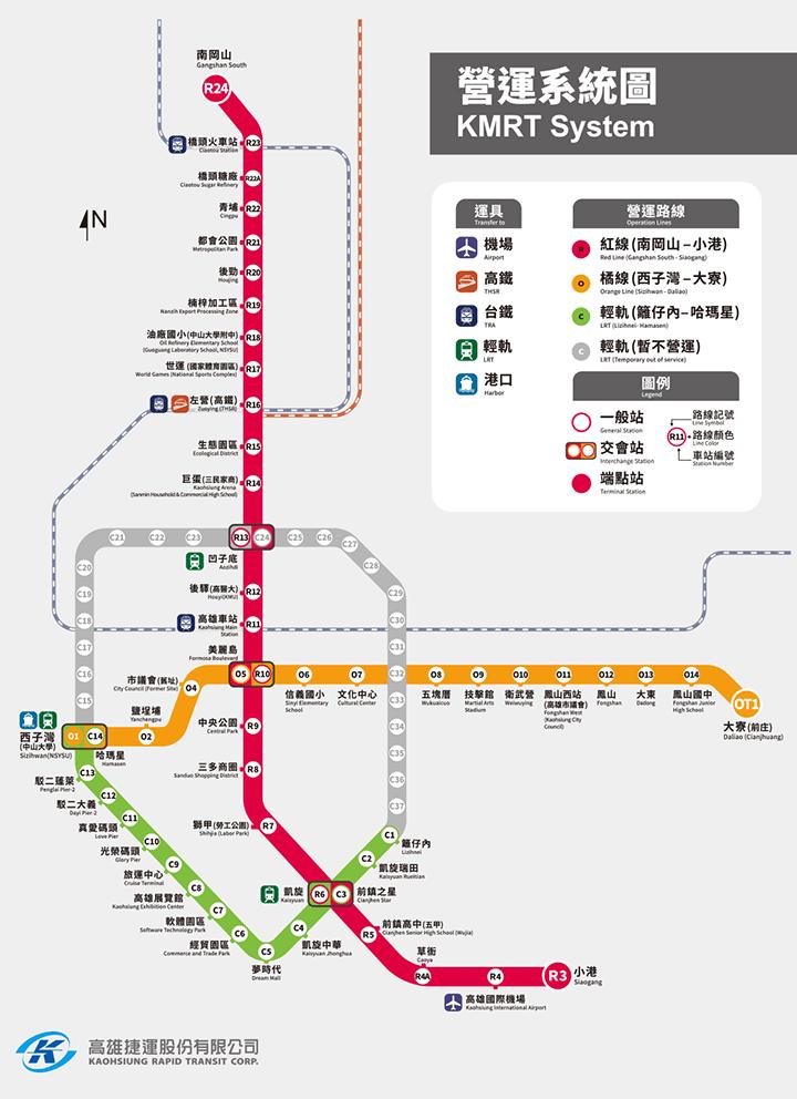 高雄MRTの路線図