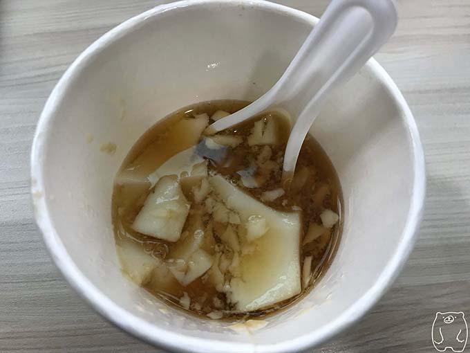 謝萬長傳統豆花|豆花を食べ終わった様子