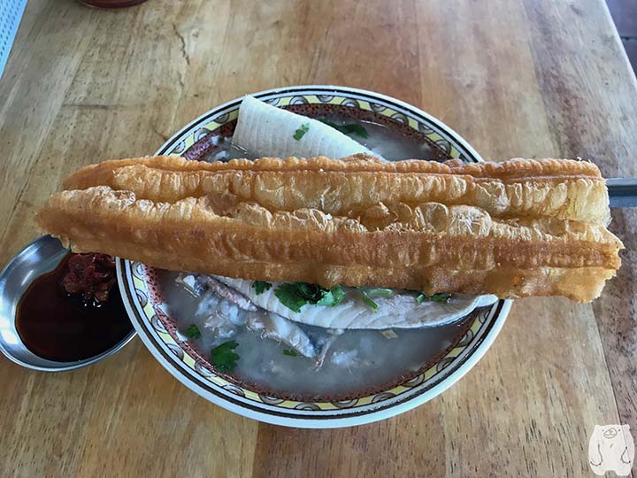 阿憨鹹粥|虱目魚肚粥と油條