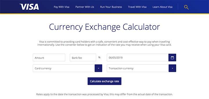 VISAのCurrency Exchange Calculator