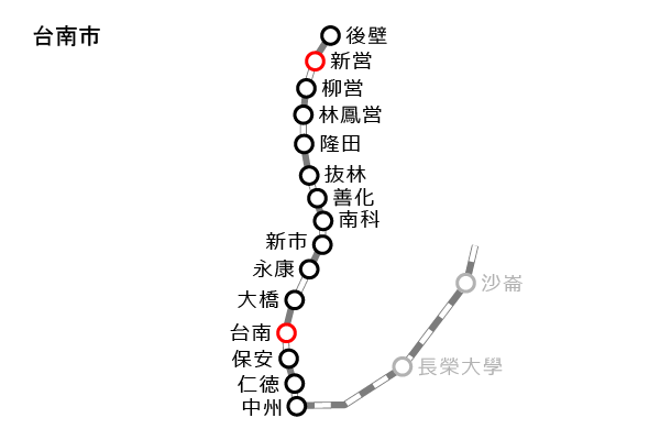 台湾鉄道(台鉄)|台南の路線図