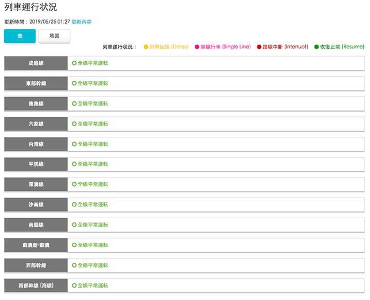 台湾鉄道の運行情報・遅延情報のリスト表示