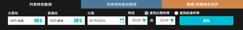 台湾鉄道(台鉄)の時刻表と運賃の検索|検索を実行する
