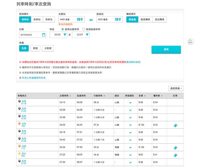 台湾鉄道(台鉄)の時刻表と運賃の検索|時刻表と運賃を確認する